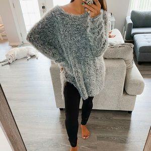Salt/pepper fuzzy tunic sweater